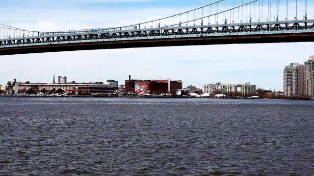 Pan of the Philadelphia waterfront video