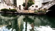 Pan of the Riverwalk in San Antonio, Texas video