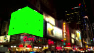 Pan over big Green screen Chroma Key in intersection NYC video
