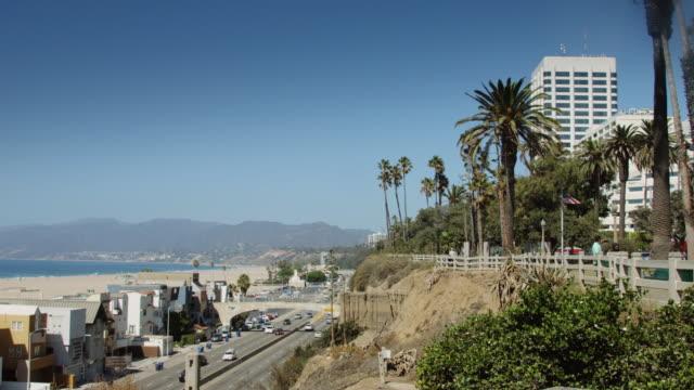 Pan Over PCH and Santa Monica Beach video