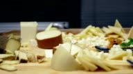 HD: Pan shot of plates with cheese and salami video