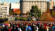 Pan Shot of Remembrance Day Memorial Service in front of Cenotaph video