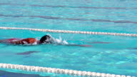 HD: LR Pan Shot of Senior Man at Front Crawl video