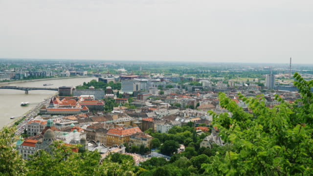 Pan shot: Panorama of the city of Budapest, Hungary. One of the most beautiful cities in Europe video