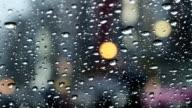 Pan view of defocused commuters in rain. video