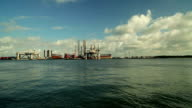 pan wide angle view of harbor video