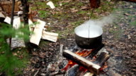 Pan with boiling soup over campfire in outdoor video
