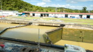 Panama Canal Locked with Man Walking Over Water Lock video