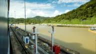 Panama Canal Locks Tight Fit By Panamax Size Cruise Ship video