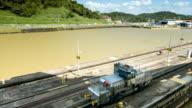 Panama Canal Locomotive Wide Guiding Ship Through Locks video