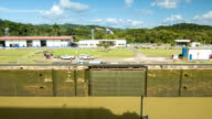 Panama Canal Side View of an Empty Lock on Perfect Day video