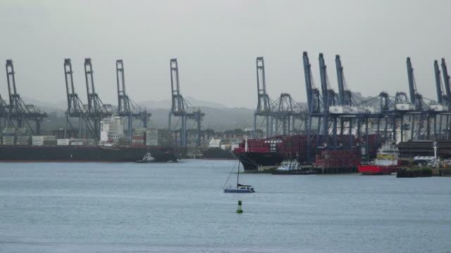 Panama city harbor, port, docks, cargo, containers, ships, ocean video
