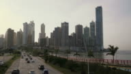 Panama City time-lapse of cars, traffic, road, buildings video