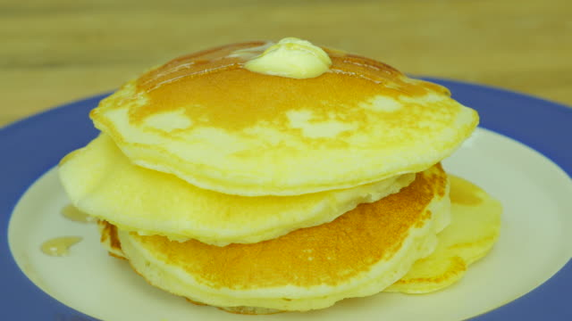 pandcake with butter and syrup. Front view. Close up. video