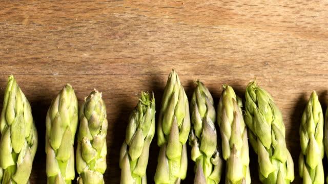 Panning across asparagus stems video