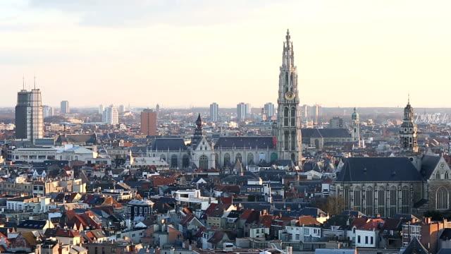 HD Panning: Aerial Antwerp ancient town Belgium at dusk video