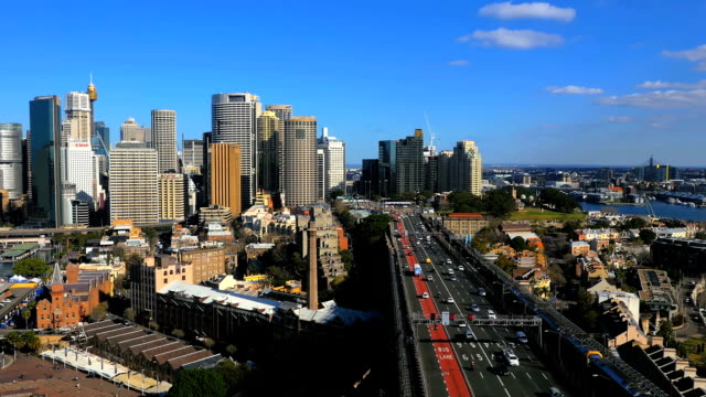 Panning aerial shot of Sydney CBD and Sydney Harbour (4K/UHD to HD) video