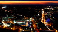 Panning aerial timelapse of the Boston city center at night video