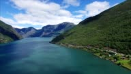 Panning aerial view above fjord in Norway. video