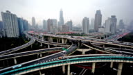 Panning and aerial view of highway and buildings of Shanghai, China video