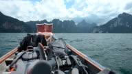 panning: backpacker on boat in reservoir video
