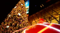 panning: big ornament and christmas trees at night video