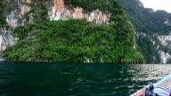 panning: boat in Cheow Lan lake, Thailand video