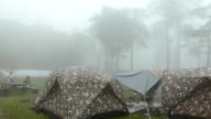 panning : camping in the mist in rainy season at Phu Soi Dao National Park video