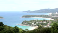 Panning HD: Aerial view Kata Beach andaman sea Phuket Thailand video