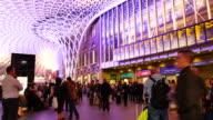 4K panning London train tube underground station, passengers in rush hour, England, UK video