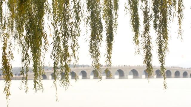 panning: long 17-Arch Bridge under air pollution video