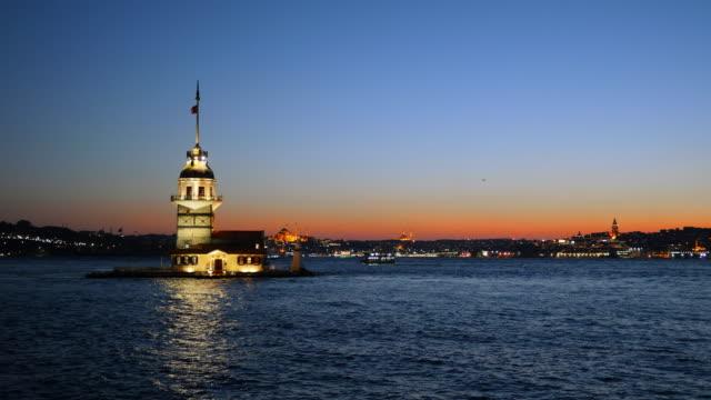 Panning night shot of Maiden's Tower in Istanbul, Turkey (KIZ KULESI - USKUDAR) video