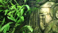 Panning of Hindu weathered mural fresco in Bali temple video