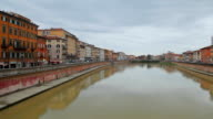 Panning of Pisa, Arno river, Lungarno view, Tuscany Italy, Europe. video