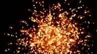 HD panning: out of focus firework at night. video