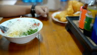 panning : Rice congee mixed in the morning video