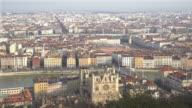 panning shot Aerial Lyon Cityscape Rhone River Notre Dame Fourviere video
