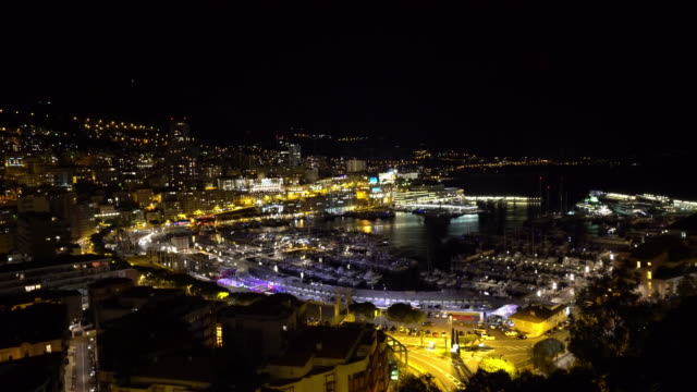 panning shot Aerial Monaco Monte Carlo harbour french riviera night video