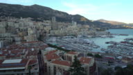 panning shot Aerial Monaco Monte Carlo harbour french riviera sunset video