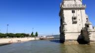 HD Panning shot: Belem Tower at Lisbon Portugal video