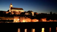 HD panning shot: Blois Cityscape and cathedral France at night video