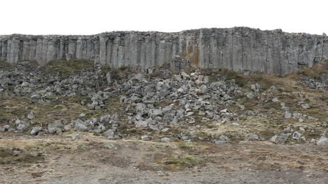 panning shot: Gerduberg basalt columns Cliffs  in Iceland video