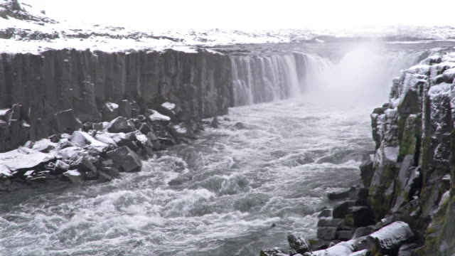 Panning shot: Iceland Selfoss Waterfall in winter with snow video