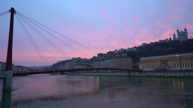 Panning shot Notre dame de fourviere Saone River Lyon sunset video