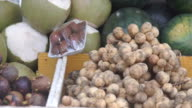 Panning shot of a fruit and vegetable market video