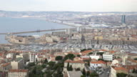 panning shot of Aerial Marseille city with old Vieux Port video