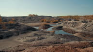 Panning shot of beautiful desert scenery with lake in summer video