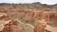 Panning shot of Charyn canyon, Kazakhstan video