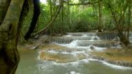 Panning shot of deep forest Waterfall in Kanchanaburi, Thailand video