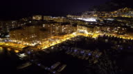 Panning shot of Fontvieille Monaco Monaco French Riviera night video